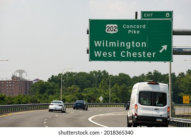 Wilmington, DE - July 7, 2021: Exit 8 sign on Route 95 towards Route 202 Concord Pike for Wilmington and West Chester.