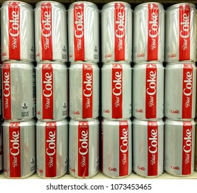 Wilmington, Delaware, U.S.A - April 20, 2018 - Cans of Diet Coke on the shelves
