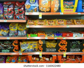 Wilmington, Delaware, U.S.A - August 20, 2018 - Halloween candies on sale at Walgreens