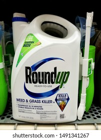Wilmington, Delaware, U.S.A - August 29, 2019 - RoundUp weed and grass killer, ready to use formula for lawn care