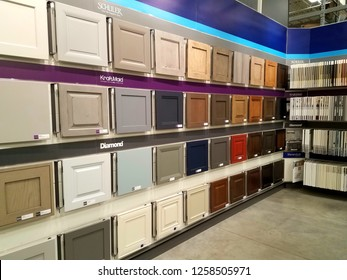 Wilmington, Delaware, U.S.A - December 13, 2018 - Variety selection of colors on cabinet doors at Lowe's