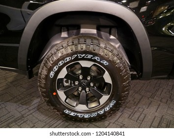 Wilmington, Delaware, U.S.A - Goodyear tire on a wheel of a truck