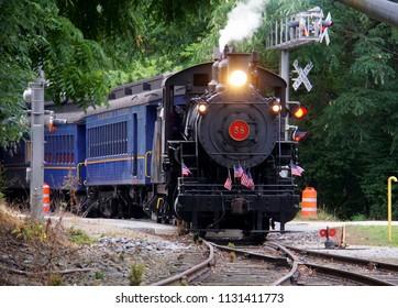 Wilmington, Delaware, U.S.A - July 4, 2018 - Steam locomotive of Wilmington Western Railroad