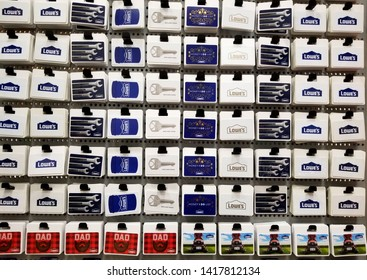 Wilmington, Delaware, U.S.A - June 6, 2019 - Variety of gift cards at Lowe's