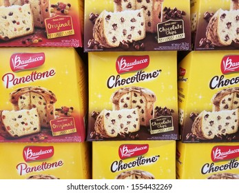 Wilmington, Delaware, U.S.A - November 5, 2019 - A stack of Chocottone and Panettone cake boxes