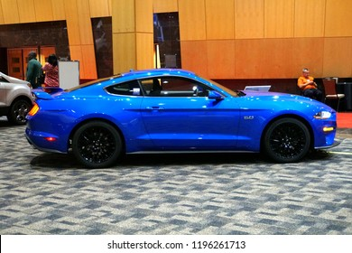 Wilmington, Delaware, U.S.A - October 5, 2018 - A shiny blue of a brand new 2019 Ford Mustang GT