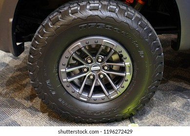 Wilmington, Delaware, U.S.A - October 5, 2018 -  A chrome wheel on Ford truck with Goodyear tire