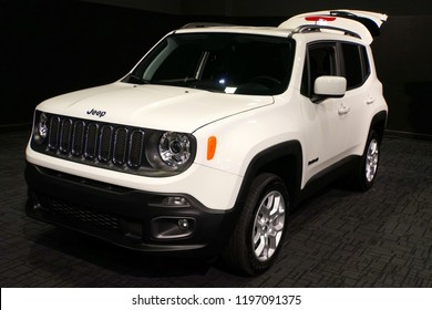 Wilmington, Delaware, U.S.A - October 5, 2018 - The new 2019 Jeep Renegade 4X4 in white color