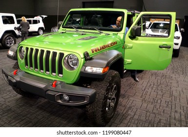 Wilmington, Delaware, U.S.A - October 5, 2018 - A brand new 2019 Jeep Wrangler Rubicon in lime green color