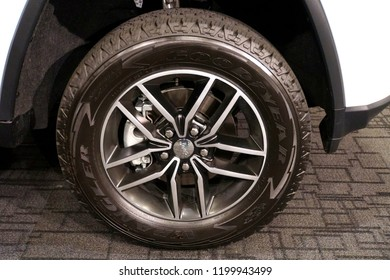 Wilmington, Delaware, U.S.A - October 5, 2018 - A chrome wheel with Goodyear tire on a brand new 2019 Jeep Wrangler