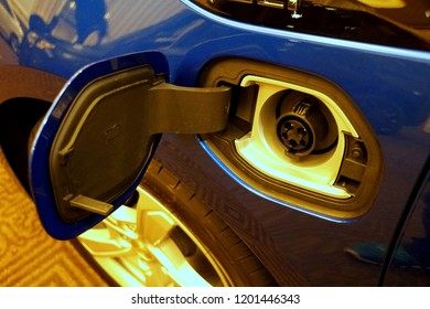 Wilmington, Delaware, U.S.A - October 5, 2018 - The charging spot of the brand new 2019 Chevy Volt all electric in blue color vehicle