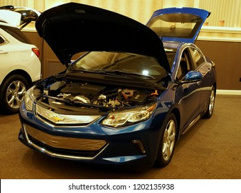 Wilmington, Delaware, U.S.A - October 5, 2018 - The trunk and the engine of the brand new 2019 Chevy Volt plug-in hybrid
