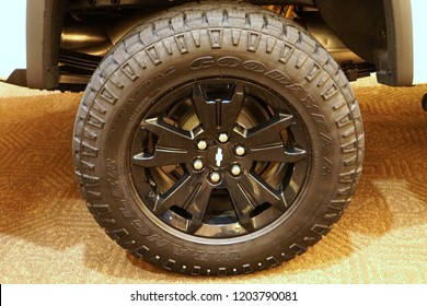 Wilmington, Delaware, U.S.A - October 5, 2018 - A black wheel of a Chevrolet truck with Goodyear Wrangler tire
