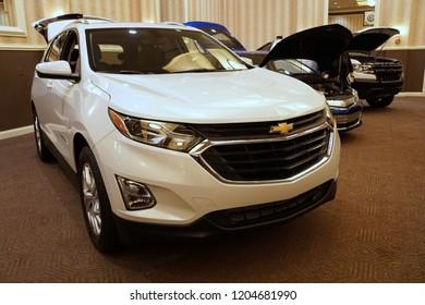 Wilmington, Delaware, U.S.A - October 5, 2018 - A brand new 2019 Chevrolet Equinox in white color