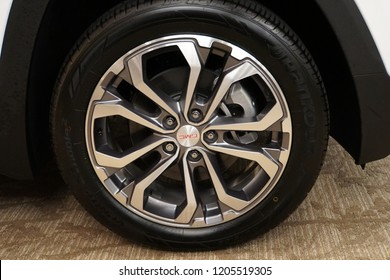 Wilmington, Delaware, U.S.A - October 5, 2018 - Alloy wheel of a GMC vehicle