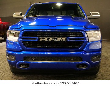 Wilmington, Delaware, U.S.A - October 5, 2018 - The front view of a brand new 2019 Dodge Ram 1500 pick up truck in blue color