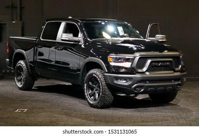 Wilmington, Delaware, U.S.A - October 6, 2019 - The 2020 Dodge Ram 1500 truck in black color