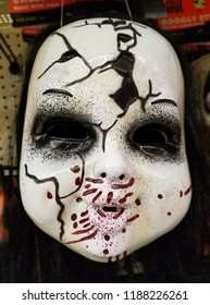 Wilmington, Delaware, U.S.A - September 23, 2018 - Scary Halloween mask for sale at Walgreens