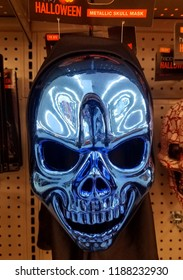 Wilmington, Delaware, U.S.A - September 23, 2018 - Scary blue skull Halloween mask for sale at Walgreens