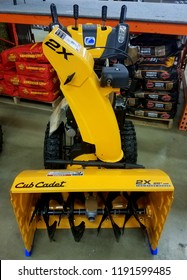 Wilmington, Delaware, U.S.A - September 29, 2018 - Cub Cadet snow blower for sale at Lowe's