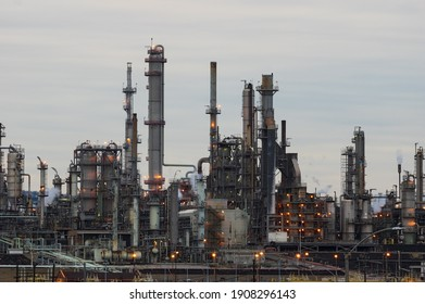 Wilmington, Los Angeles, CA, USA - January 31, 2021: this image shows a view of a chemical plant taken at dusk.