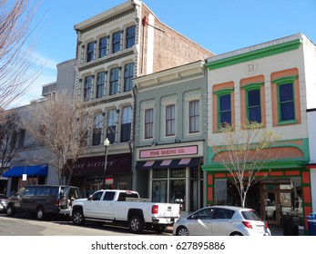 WILMINGTON, NC - FEB 2017: Shops and restaurants line the streets of downtown Wilmington