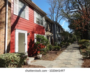 WILMINGTON, NC / USA - FEB 2017: Row houses in downtown Wilmington, North Carolina