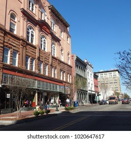 WILMINGTON, NC / USA - FEB 2017: Pedestrians in Downtown Wilmington, North Carolina During Lunch Hour
