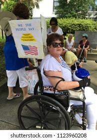 Wilmington, NC, USA / June 30, 2018. NAACP Rally to Reunite Families. Wilmington North Carolina citizens and visitors rally and show support. Families belong together!