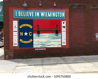 Wilmington NC, USA / May 21, 2018. Mural on 2nd in historic downtown Wilmington NC.