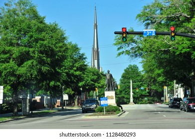 Wilmington, NC/USA- 06/24/2018: The spire of First Baptist Church can be seen all over downtown Wilmington.