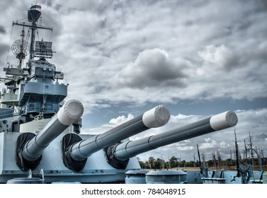 Wilmington, NC/USA -12/30/2017  The large aft artillery on the Battleship USS North Carolina, currently moored along the Cape Fear River in Wilmington, NC.