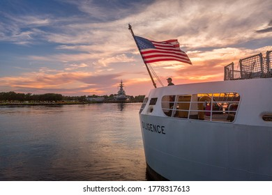 Wilmington, North Carolina - August 4, 2018:  A sailor stands aboard the USCGC Diligence