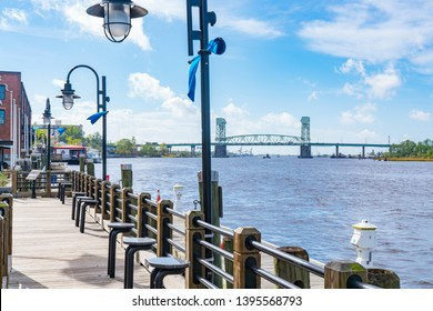 Wilmington, North Carolina Riverwalk along the waterfront of the Cape Fear River