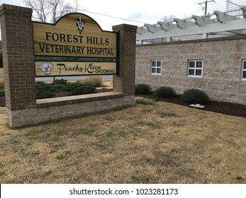 Wilmington, North Carolina / USA, February 11, 2018. Forest Hills Veterinary Hospital on Market St near downtown Wilmington.