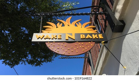 Wilmington, North Carolina / USA, May 3, 2017: Wake N Bake donut store sign on Princess St in Downtown Wilmington