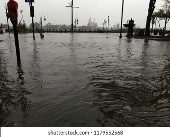 Wilmington North Carolina - USA / September 14, 2018. Downtown Wilmington begins to flood from heavy rain and storm surges. The bottom of Market St and Water Street showing signs of excessive flooding