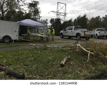 Wilmington North Carolina - USA / September 14, 2018. Linemen staging area to get downtown back online and power the city in the aftermath of Hurricane Florence and as the storm surges continue
