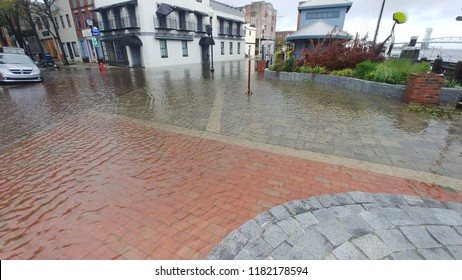Wilmington, North Carolina / USA - September 15, 2018. Water surges again as the region sees more rain and flooding from Hurricane Florence
