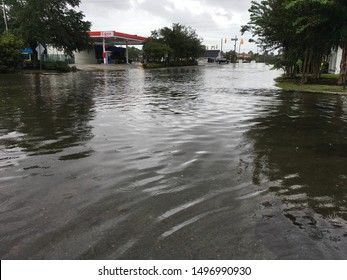 Wilmington, North Carolina / USA - September 5, 2019. Hurricane Dorian brings early flooding while still off a distance of over 125 miles away. New Center Dr near College Rd sees substantial flooding.