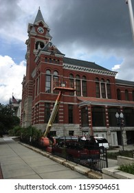Wilmington North Carolina-USA / August 17, 2018. Construction on exterior of New Hanover County Courthouse