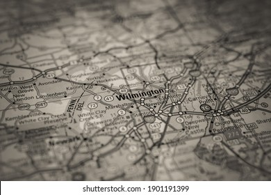 Wilmington on Usa travel map background