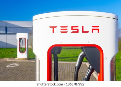 Wilnsdorf,NRW,Germany - 12.06.2020 : Line of two Tesla super chargers on a gas station area in Germany.
