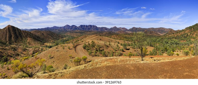Wilpena Pound in Flinders Ranges national park of South Australia. Panoramic view from Razorback lookout on a geology trail.