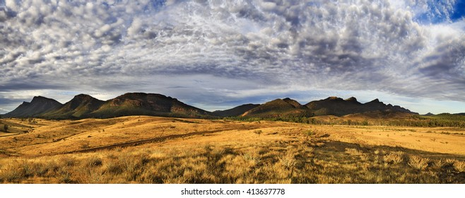 Wilpena pound mountain limestone range in Flinders Ranges national park at morning. Warm sun light highlights outback grass and wildlife.