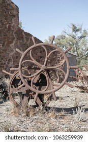 Wilpena Pound, South Australia, Australia - March 15, 2018: Farm machinery at the Old Wilpena Station, a working station until 1985 within the Ikara-Flinders Ranges, now a Aboriginal heritage site.
