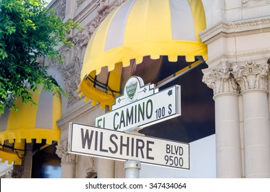 Wilshire Boulevard Sign in Beverly HIlls, California, USA