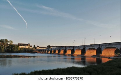 Wilson bridge over Loire river in Tours city, Loire Valley, France