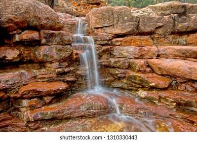 Wilson Falls Closeup. A waterfall in Wilson Canyon near Sedona Arizona.