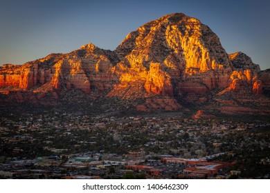 Wilson Mountain and suburbs of West Sedona Arizona photographed at Sunset.